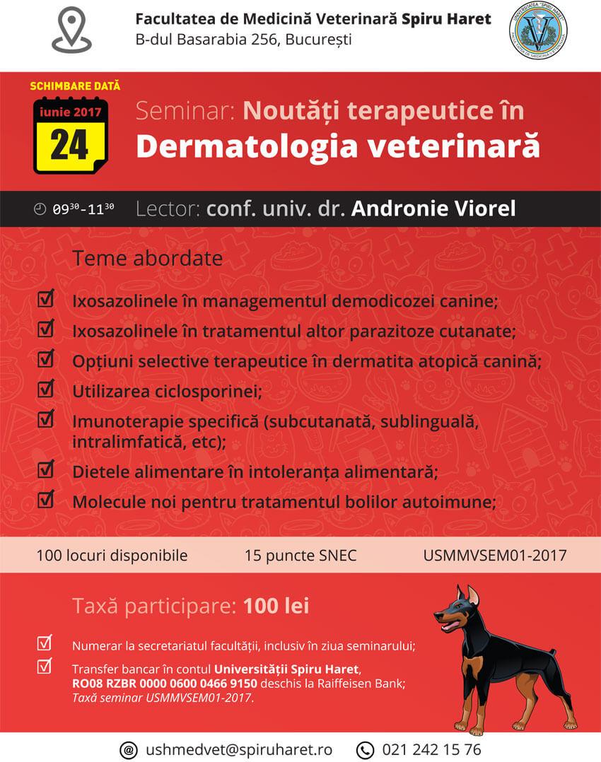 Seminar: Noutăți în dermatologia veterinară poster
