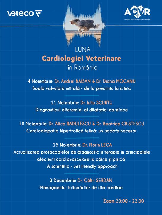 Webinar: Actualizarea protocoalelor de diagnostic și terapie în principalele afecțiuni cardiovasculare la câine și pisică poster